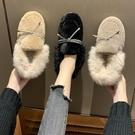 女士樂福鞋 毛毛鞋女網紅休閒平底冬季棉鞋正韓時尚百搭豆豆鞋潮一腳蹬樂福鞋【快速出貨】