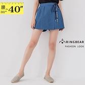 短褲裙--個性獨特潮流英字綁帶開衩裙襬牛仔短褲裙(藍XL-5L)-R251眼圈熊中大尺碼