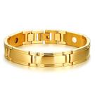 《 QBOX 》FASHION 飾品【BSBRM-096】精緻個性簡約型男鑲健康磁石金色鈦鋼手鍊/手環
