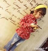 女童長袖襯衫-女童春秋新款休閒波點小翻領上衣  女寶寶氣質收腰荷葉邊襯衫 多麗絲