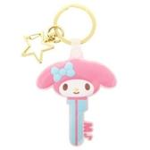 〔小禮堂〕美樂蒂 大臉鑰匙造型矽膠鑰匙圈《粉藍》掛飾.吊飾.鎖圈 4930972-49552