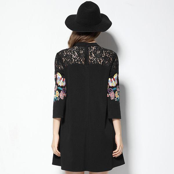 大尺碼洋裝 蝴蝶印花蕾絲七分袖A字連身裙 XL-5XL #sn3107 ❤卡樂store❤