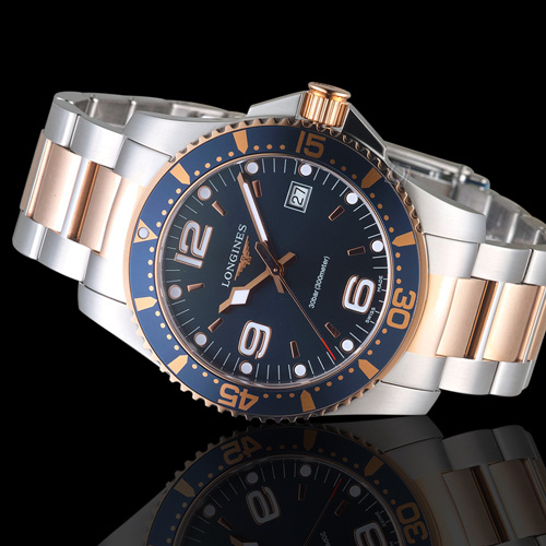 LONGINES浪琴深海征服者300米潛水石英錶 L37403987 玫瑰金x銀