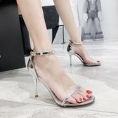 網紅性感一字扣帶涼鞋女新款百搭細跟夏季露趾簡約透明高跟鞋