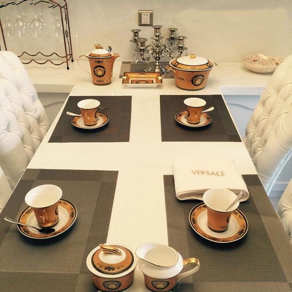 PUSH!餐具用品隔熱80度西餐墊防滑餐墊餐桌墊子杯墊B款3入 E52