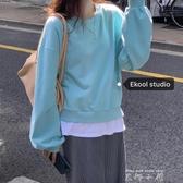 EKOOL定制 假兩件套頭加絨衛衣女秋冬新款休閒韓版寬鬆上衣外套