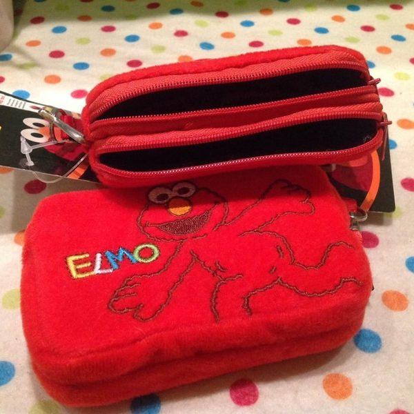 【發現。好貨】台灣正版授權ELMO芝麻街雙層拉鍊零錢包 手工刺繡零錢包