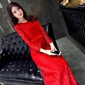婚紗禮服 新娘敬酒服長款結婚紅色韓版宴會晚禮服長袖主持人禮服