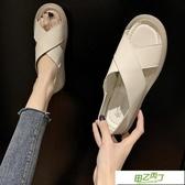 涼鞋 新品時尚百搭ins潮夏季溫柔仙女風交叉孕婦平底涼鞋女【降價兩天】