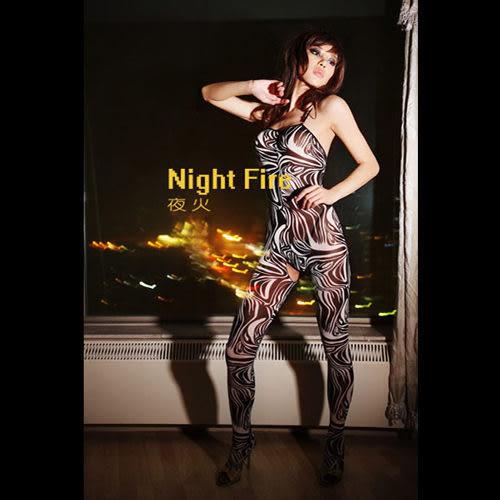 【伊莉婷】夜火 Night Fire 斑馬紋開檔連身襪