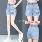松緊腰牛仔短褲女直筒寬鬆高腰新款夏季闊腿女褲顯瘦百搭外穿