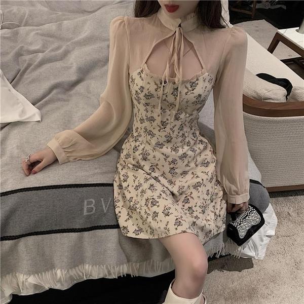 雪紡洋裝 2021新款春季淺色系裙子早春款女裝法式設計感碎花性感雪紡甜美連身裙