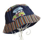 【美國 Jamie Rae】寶寶帽 / 遮陽帽 抗UV防曬 小車車深藍條紋款