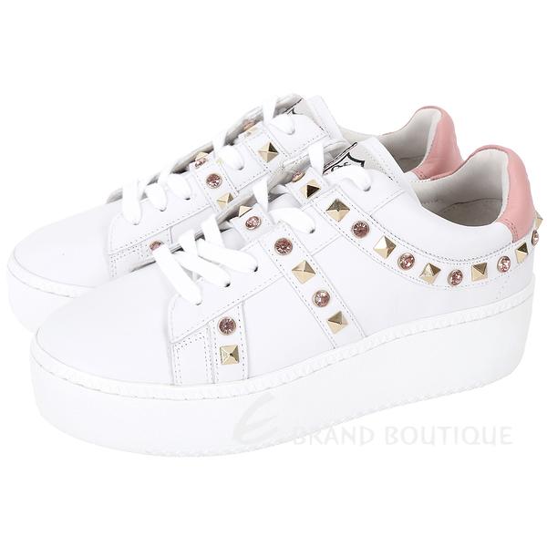 ASH Clone 鑽飾鉚釘牛皮綁帶厚底休閒鞋(白色) 1820375-20