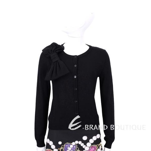 BOUTIQUE MOSCHINO 黑色蝴蝶結飾羊毛針織外套 1540790-01