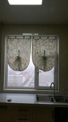 可愛時尚田園全棉麻門簾7 廚房半簾 咖啡簾 窗幔簾 穿杆簾 (140cm寬*110cm高) 風水簾