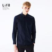 Formal 六零細支 領飾滾邊 長袖襯衫-丈青【11154】