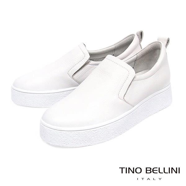 Tino Bellini 柔軟真皮舒適厚底休閒鞋 白 C73409A