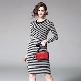 洋裝-七分袖圓領條紋針織收腰女連身裙73of82【巴黎精品】