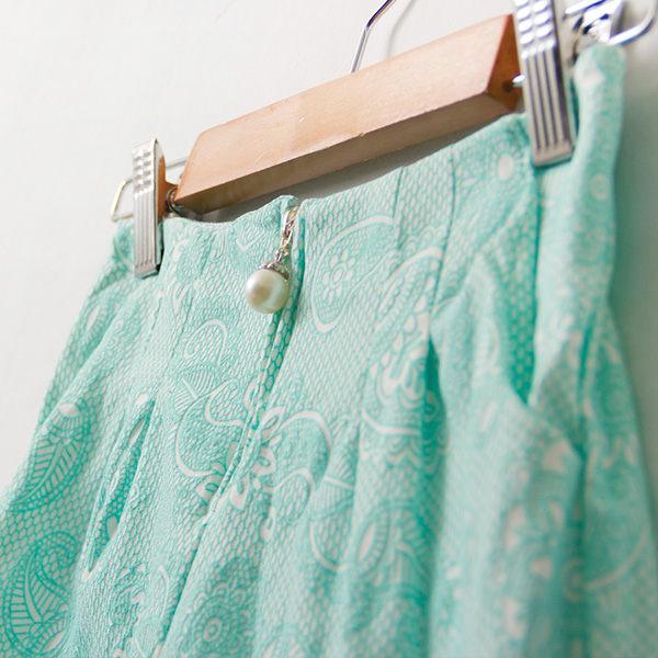 滿版變形蟲紋珍珠一字式拉鍊短褲-4色~funsgirl芳子時尚