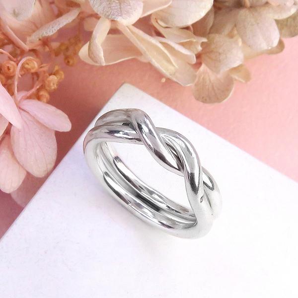 雙環交疊戒 (單只戒指) 925純銀戒指 ART64