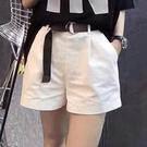 歐洲站2021夏季新款白色短褲女寬管半松緊腰顯瘦百搭休閒褲子女薄 【端午節特惠】