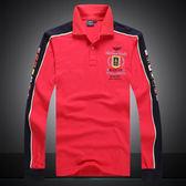 [美國空軍一號休閒服飾] 外貿男裝春秋季新款刺綉長袖T恤 翻領POLO衫807/紅色**預購