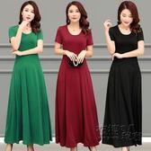 夏季新品短袖女連衣裙時尚套頭大擺裙韓版修身純色長裙   衣櫥の秘密