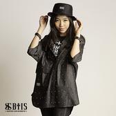 【BTIS】單寧滿版十字印花 短袖罩衫  / 黑色