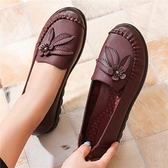 2020春秋款媽媽鞋軟底舒適單鞋平底防滑中老年人女鞋中年奶奶皮鞋
