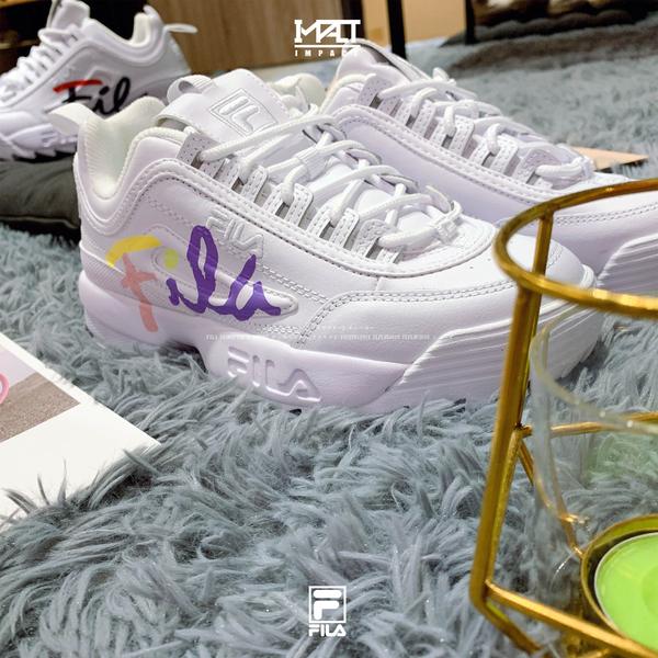 IMPACT FILA Disruptor 2 韓國 斐樂 白藍紅 黃紫粉 復古鞋 厚底 鋸齒鞋 FLFL9F3U10