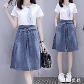 大尺碼兩件式洋裝2020新款女裝夏季顯瘦顯高牛仔連身裙流行兩件套 LF3505『美鞋公社』