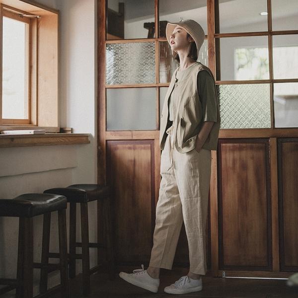 Queen Shop【04101462】抽繩綁帶設計棉麻長褲 兩色售 S/M*現+預*