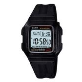 【CASIO】 能量百分百數位電子錶-黑(F-201WA-1A)