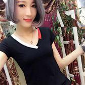 夏天短袖t恤女學生寬鬆韓版ulzzang上衣新款女裝百搭V領小衫   檸檬衣舍