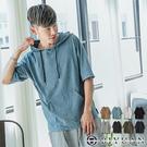 MIT 寬鬆短袖帽T【SP1739】OBIYUAN 開衩連帽短袖T恤 上衣共8色