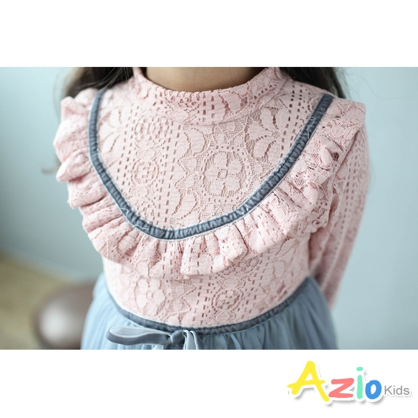 Azio女童 洋裝  蕾絲花布胸前荷葉邊網紗蓬蓬裙(粉) Azio Kids 美國派 童裝