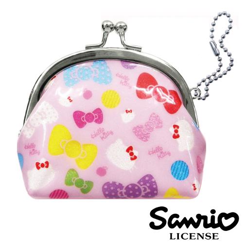 粉紅款【日本進口正版】 Hello Kitty 防水 珠扣零錢包 口金包 凱蒂貓 三麗鷗 - 047003