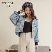 東京著衣-tokichoi-個性街頭水洗刷色雙口袋牛仔外套(191556)【現+預】