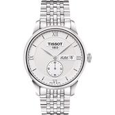 TISSOT 天梭 Le Locle Gent 力洛克小秒針機械手錶-銀/39mm T0064281103801