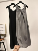 連身裙女春夏季新款修身顯瘦無袖吊帶裙露背打底內搭中長款背心裙 貝芙莉
