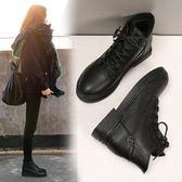 短靴繫帶馬丁靴韓版瘦瘦平底女靴子【不二雜貨】