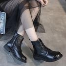 英倫風短靴女 系帶機車靴 圓頭粗跟馬丁靴-夢想家-標準碼-0921