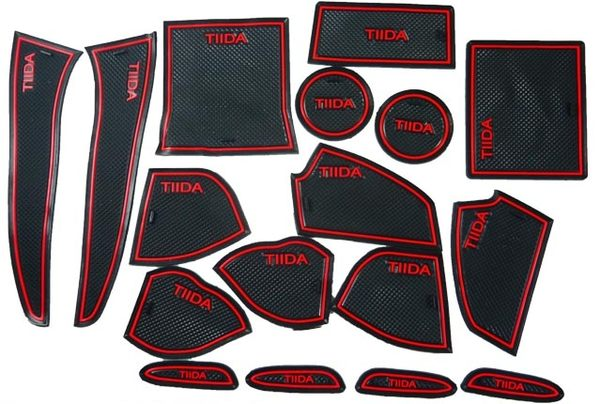 日產 13年 BIG TIIDA 專用 17片 止滑防水 製震杯墊 置物墊 門邊墊 止滑墊 防水墊