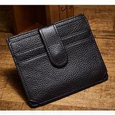 【O-ni O-ni】真皮新款韓版純色牛皮錢包男士橫款方款卡包CB-T9105-1-黑色