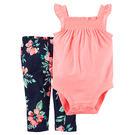 Carter's 美國童裝 無袖 荷葉邊 包屁衣 長褲 粉紅色花朵 兩件組 3M 6M 9M 12M 18M 24M