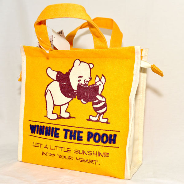 小熊維尼 Pooh 拉鍊帆布手提包 日本帶回正版