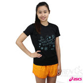 ASICS亞瑟士 女花漾排球短袖T恤(黑) 吸濕排汗