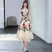 洋裝-無袖復古典雅玫瑰刺繡網紗連身裙73ta28【時尚巴黎】
