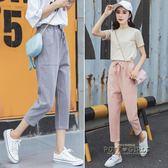 七分褲冰絲棉麻女褲子韓版寬鬆薄款休閒九分哈倫褲